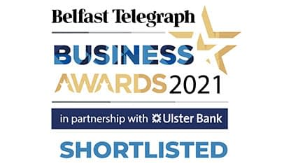 """KME are very proud to have been shortlisted for """"Best Established Small/Medium Business"""" in the 2021 Belfast Telegraph Business awards."""